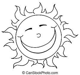 Esbozada y sonriente mascota solar