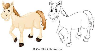Esbozo animal para caballo feliz