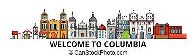 Esbozo de Columbia, iconos de línea delgada columbia, puntos de referencia, ilustraciones. Columbia Cityscape, la bandera del vector de viaje de Columbia. Silueta urbana