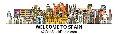 Esbozo de esbozo español, iconos de delgada línea plana, puntos de referencia, ilustraciones. Escape español, estandarte vectorial española de viaje de ciudad. Silueta urbana