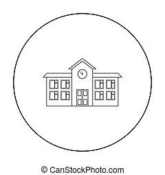 Esbozo de icono de la escuela. Un icono de un edificio del esquema de infraestructura de la gran ciudad.