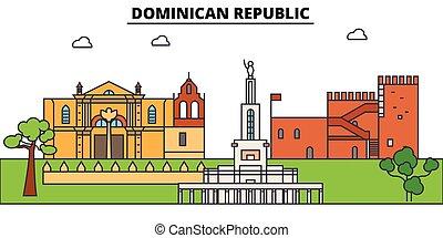 Esbozo de la República Dominicana, domini puede iconos de delgada línea, puntos de referencia, ilustraciones. Ciudadescape de la República Dominicana, estandarte vectorial dominicana. Silueta urbana