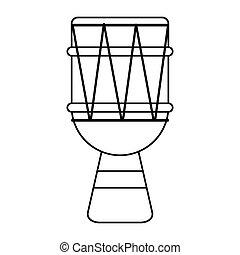 Esbozo de tambor brasileño de percusión bongo