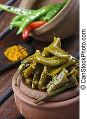 Escabeche chile, un pepinillo indio popular