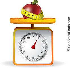 escala, manzana, fondo alimento, blanco, cocina