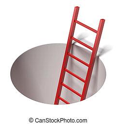 escalera, agujero, dentro, posición