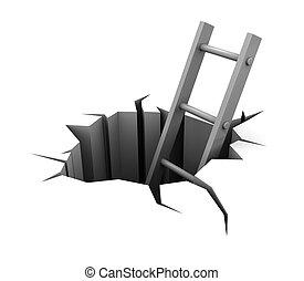 escalera, agujero