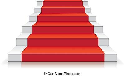 Escalera blanca con alfombra roja ilustración de vectores de escalera 3D