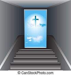 escalera, cristo, heaven., cruz, jesús, god., manera