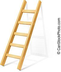 Escalera de escalón de madera