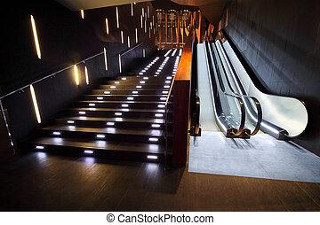 escalera, interior, lujoso, escalera mecánica, moderno, materiales