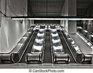escalera mecánica, trabajando, (wide, angle), conjuntos