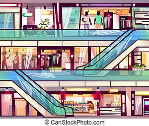 escalera mecánica, vector, alameda, tienda, escalera, ilustración