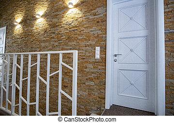 escalera, puertas, hogar, sitio moderno, espacioso, interior, style., contemporáneo, barandilla, pasillo