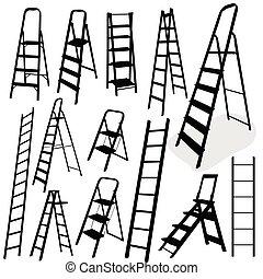 escalera, vector, negro, ilustración