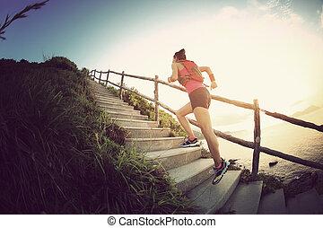 escaleras, corriente, playa, rastro, corredor, condición física, mujer, montaña