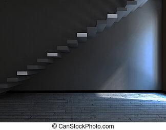 Escaleras en el cuarto oscuro, 3D