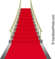 escaleras, rojo