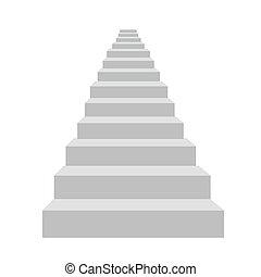 escaleras, vector, blanco, detallado, ilustración