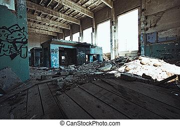 escalofriante, fábrica, grunge, abandonado, almacén, industrial, dentro, edificio, oscuridad, viejo