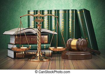 Escamas de oro de justicia, martillo y libros con diferentes leyes. Un concepto de justicia.