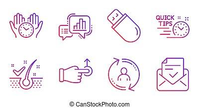 escamas, gráfico, seguro, rápido, obstáculo, set., gráfico, usb, tiempo, signs., iconos, gota, vector, puntas, palo, anti-dandruff