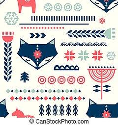 escandinavo, arte, style., nórdico, seamless, patrón, invierno, gente