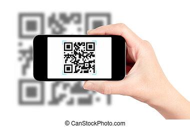 Escaneando código QR con teléfono móvil