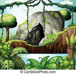 Escena con cueva en el bosque profundo