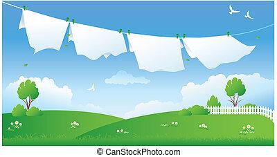 Escena con ropa seca