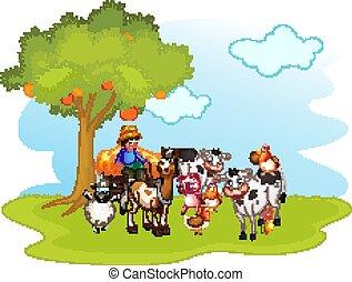 escena, cultive animales