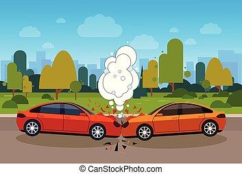 Escena de accidente de coche en peligro en el concepto de carretera