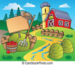 Escena de campo con granero rojo 5