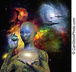 Escena de ciencia ficción con androide