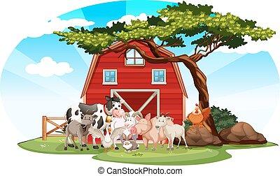 Escena de granja con animales