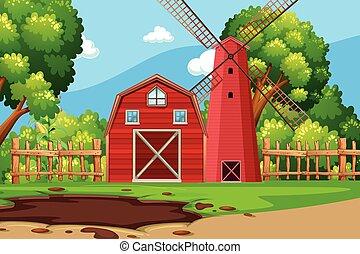 Escena de granja con granero rojo
