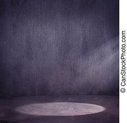 Escena de grungy vacía con manchas de luz