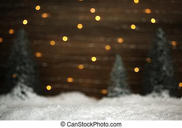 Escena de invierno con árboles y fondo de nieve