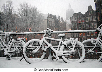 Escena de invierno de Amsterdam