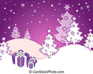 Escena de invierno - tarjeta de Navidad