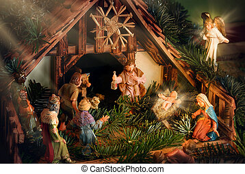 Escena de Natividad mejorada con rayos de luz