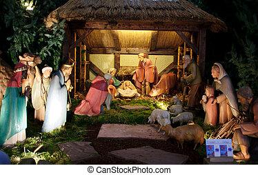 Escena de natividad navideña con tres sabios presentando regalos al bebé Jesús, María y José