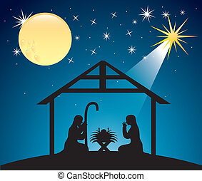 Escena de natividad navideña