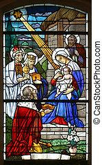 Escena de natividad, vidrio manchado