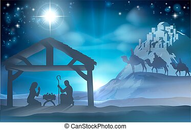 Escena de Navidad navideña