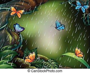 Escena del bosque con mariposas volando bajo la lluvia