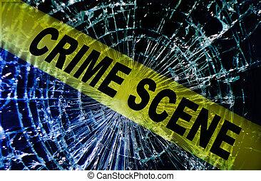 Escena del crimen de ventanas rota