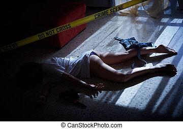 Escena del crimen. Víctima tirada en el suelo