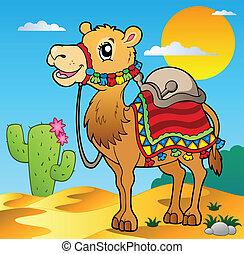 Escena del desierto con camello