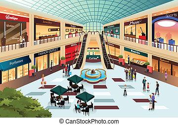 Escena dentro del centro comercial